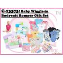 C-13373: Baby Wiggle-in Bodysuit Romper 4pcs Set With 6 Handkerchief gift Set (Non Choosing Design)