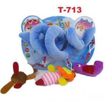 T-713: Baby Soft Toy Crib Toy Animal Friends Pull Ring Bed Around Baby Toy -- G