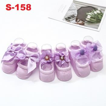 S-158: 3Pairs Thin Cotton Anti-slip Floor Baby Socks (Purple)