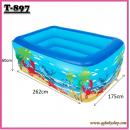 T-897:Inflatable Kids Pool (L262CM X W175CM X H60CM)  (2.6)(Random Design)