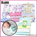 O-406 :4pcs Set Baby Cotton Receiving Blanket 【Not Choosing Design)